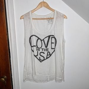 CHASER Love in the USA Cotton Blend Burnout Tank